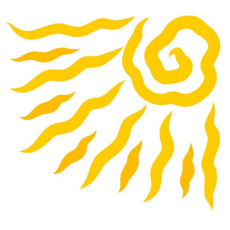 Shining yellow sun with wavy rays, pattern