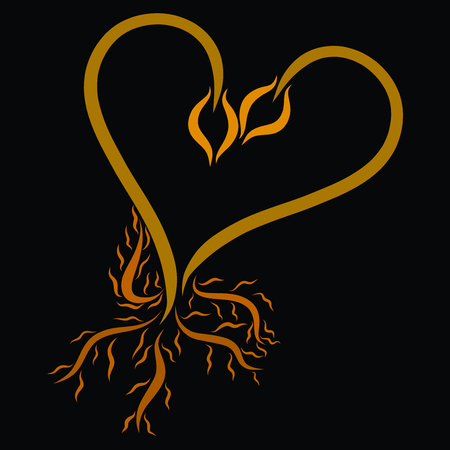Two young sprout together and roots, heart Banco de Imagens