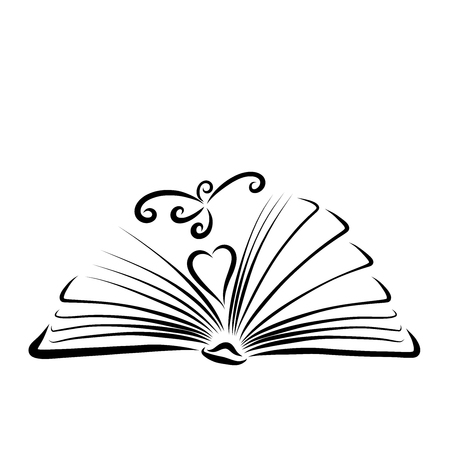 Open book, heart and flying bird, black outline