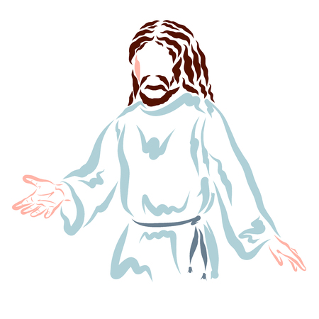 Jesus teaches people or helps them, the Lord with a outstretched hand