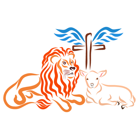 Christian salvation, lion, lamb and winged cross