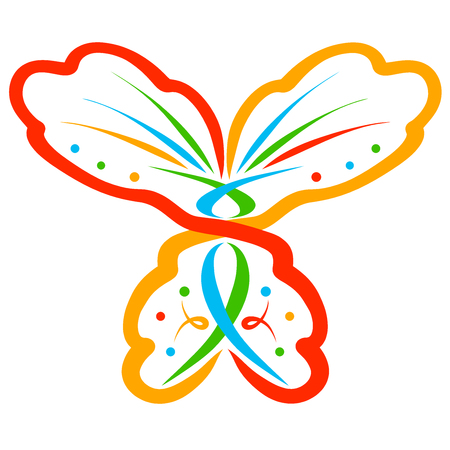 Abstract colorful butterfly with symbols and pattern