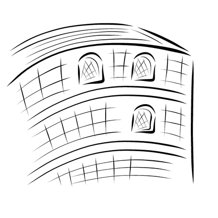 Building with windows, abstract black sketch, architecture