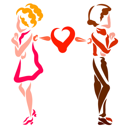 Couple in love quarreled, insult and common heart