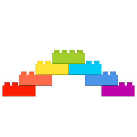 a pyramid of seven designer parts, ascent and descent, colors of the rainbow Stock Photo