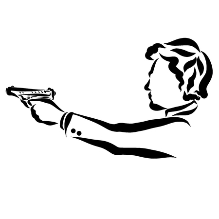 A young man in a jacket shoots a pistol