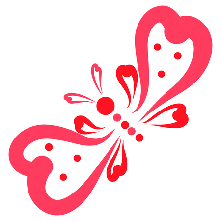 Cute and funny butterfly from the hearts, like a decorative bow