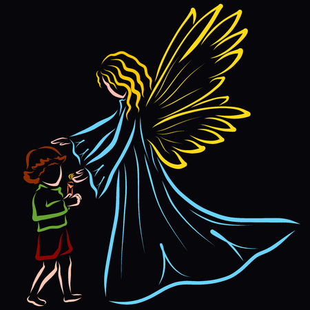 a child with a candle and an angel guarding the flame and protecting the child