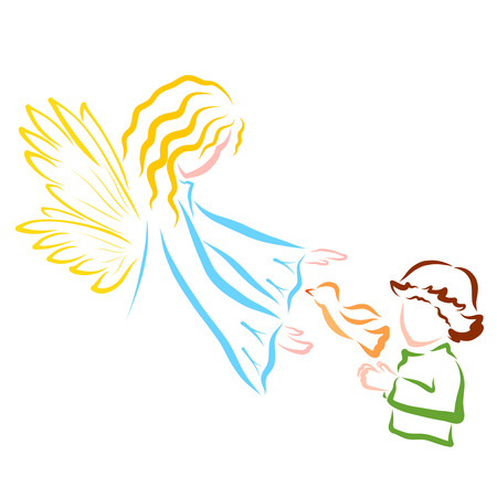 The boy lets the bird and the angel or fairy protects her