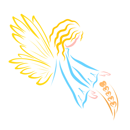 the angel protects the ripe ear of wheat, nature and faith