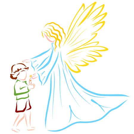 Angel or fairy guards the flame of a candle in the hands of a child