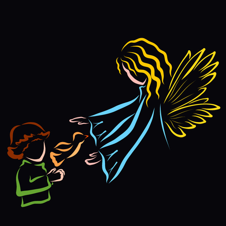 Boy, bird and angel or fairy, pattern on a black background 스톡 콘텐츠