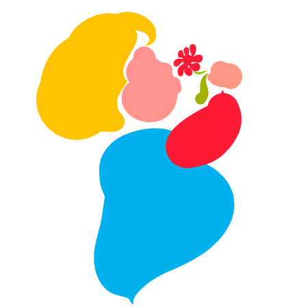 colorful silhouette of a pregnant or fat woman inhaling the scent of a flower