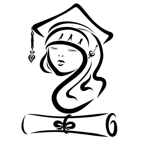 pretty student in a hat with a document Banque d'images - 121489898