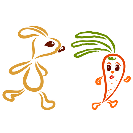 the hare is trying to catch up with the fleeing carrot