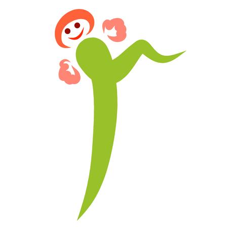 funny running or dancing letter r, little man