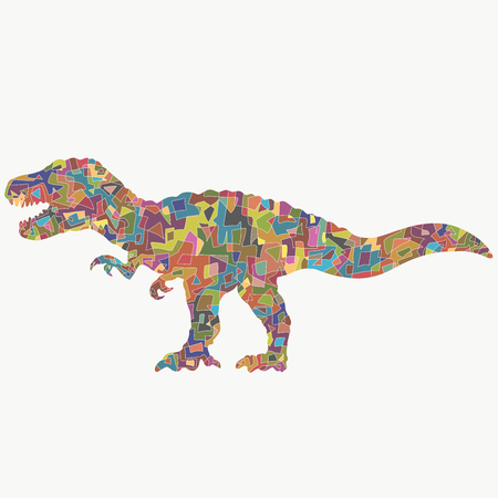 thundering dinosaur with a creative colorful pattern of geometric shapes Reklamní fotografie