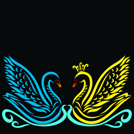 Beautiful romantic and fabulous pair of swans