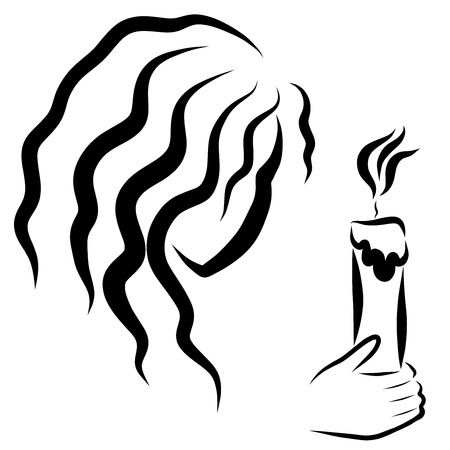 girl with a burning candle in hand