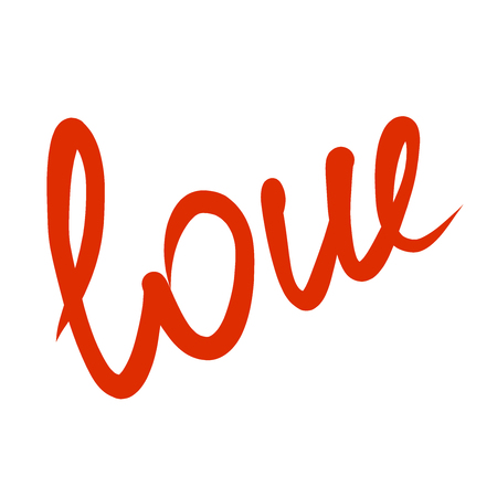 word love red text on white background