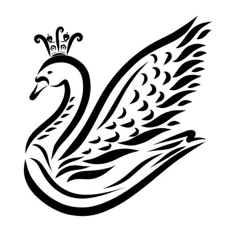 Beautiful graceful swan in a crown, fairy princess Banco de Imagens