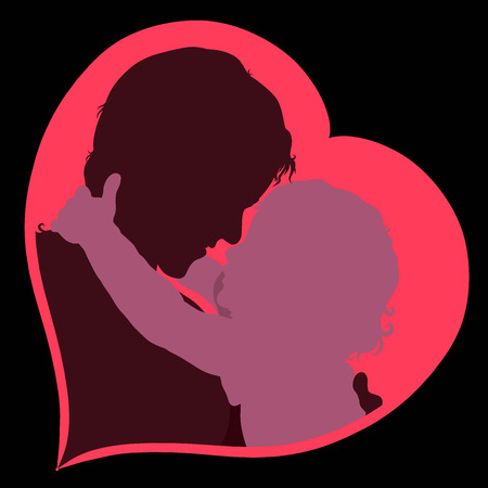 baby wants to kiss mom silhouettes in heart