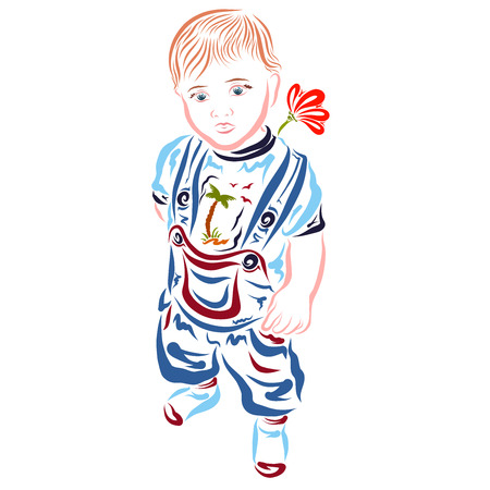 cute stylish child with a flower behind back