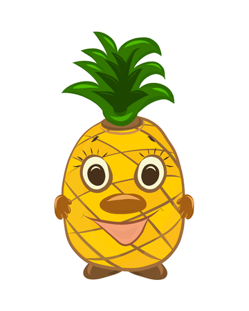 Funny funny smiling pineapple with face