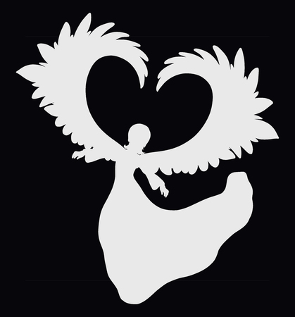 White silhouette of angel with wings, heart