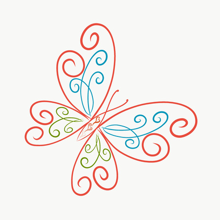 elegant bright butterfly, painted lines with swirls Banco de Imagens