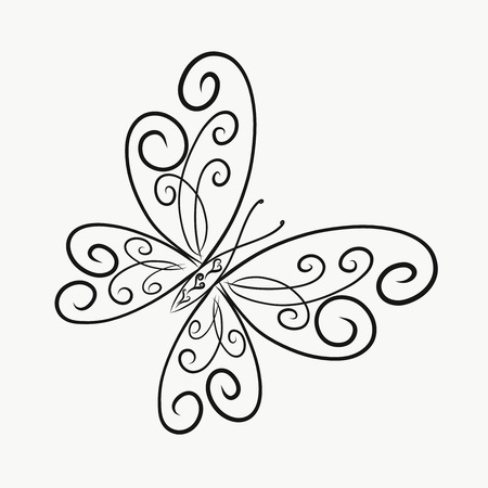 Coloring, elegant butterfly, painted lines with swirls