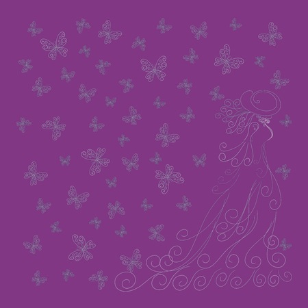 Romantic pattern with lady and butterflies on a purple background