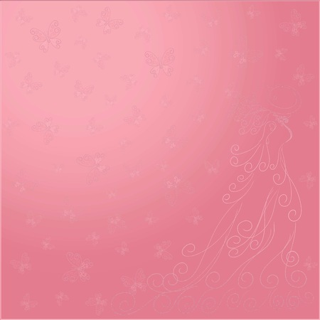 Romantic background with lady and butterflies on a shining pink silk