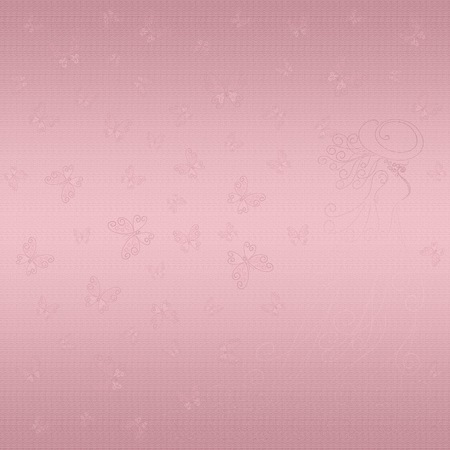 Romantic pattern with lady and butterflies on a pink gold background Banco de Imagens