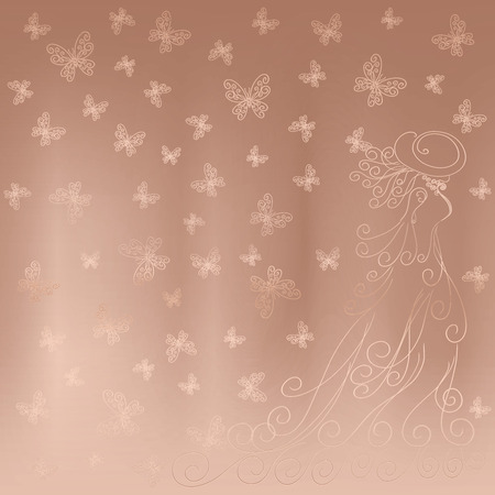 Romantic background with lady and butterflies on a beige satin shining
