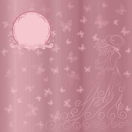 Romantic background with lady and butterflies, and round frame on a pink satin shining
