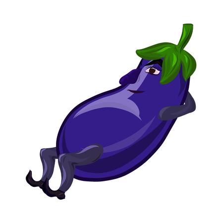Funny cool resting eggplant