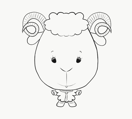 Coloring, small, funny, lamb with horns