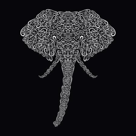 Elephants head, drawn by curls