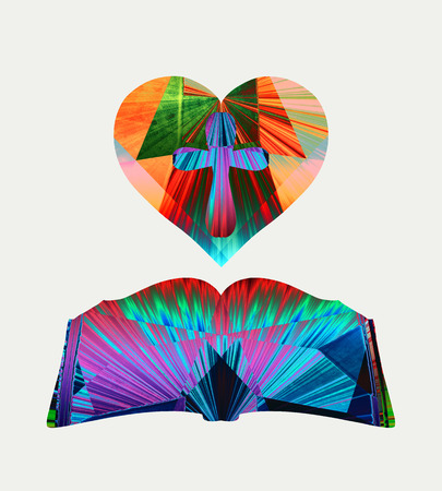 Heart with a cross and an open bible, an abstract design