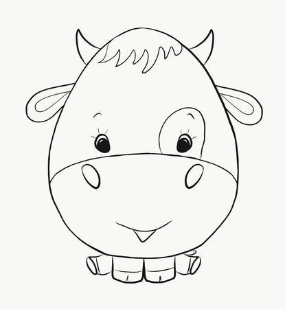 Coloring funny bull Banco de Imagens