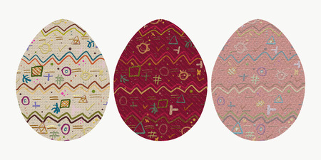 three eggs with a cheerful abstract pattern