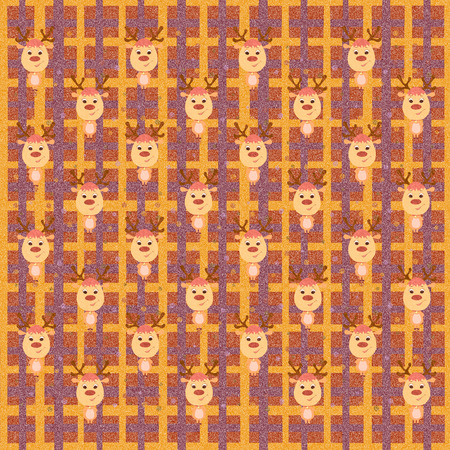 Christmas checkered background with deer