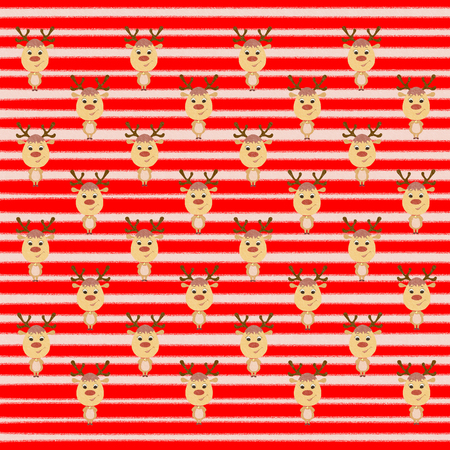 Bright Christmas striped background with deer