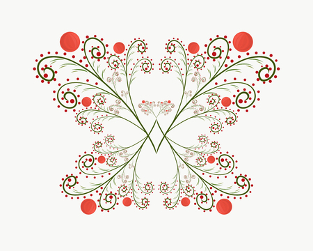 Elegant butterfly of twigs with berries, drawn with lines with curls