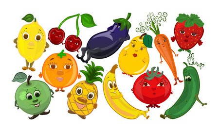 A set of funny fruits and vegetables with faces, smileys