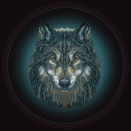 The majestic wolf in a round frame Banco de Imagens