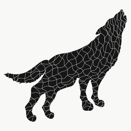 Silhouette of the howling wolf, black mosaic