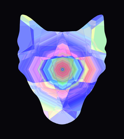 Bright abstract silhouette of a wolf head on a black background Banco de Imagens