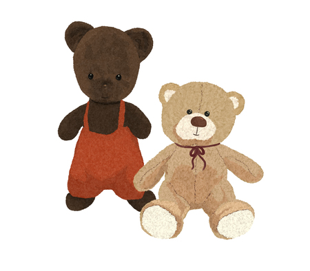 Two teddy bears, old and new, drawing